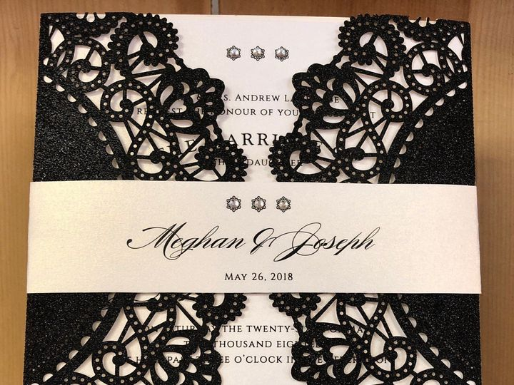 Tmx Black Glitter Laser 51 129420 1566422767 Oak Forest, IL wedding invitation