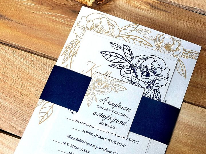 Tmx Goldbluerosebellyband 51 129420 1565633932 Oak Forest, IL wedding invitation