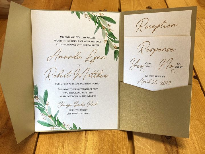 Tmx Goldgreenbotanicalpocket 51 129420 1565632817 Oak Forest, IL wedding invitation