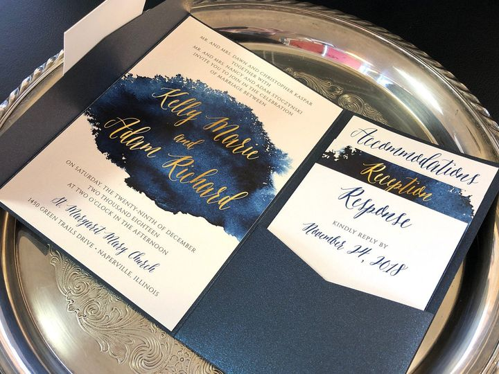 Tmx Goldnamesdarkbluepocket 51 129420 1565632815 Oak Forest, IL wedding invitation