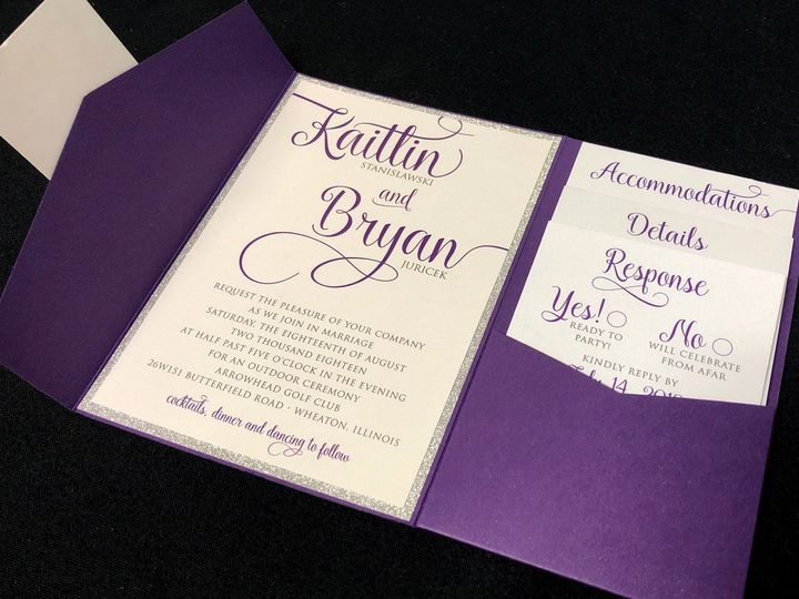 Tmx Purplesilverglitterpocket 51 129420 1565632821 Oak Forest, IL wedding invitation