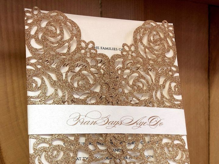 Tmx Rose Gold Glitter Laser 51 129420 1566422597 Oak Forest, IL wedding invitation