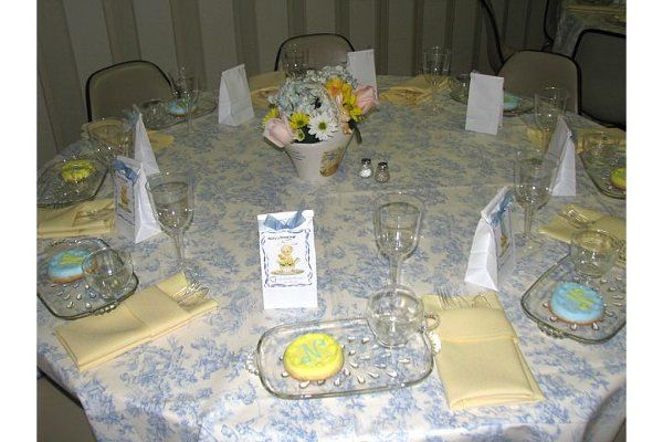 Blue and yellow themed baby shower.