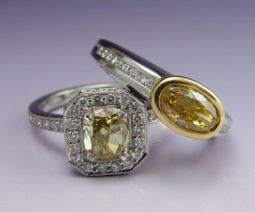 Fancy color diamond engagement rings.