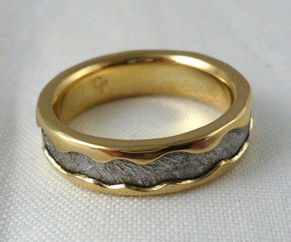 Meteorite in 18k yellow gold by Chris Ploof.