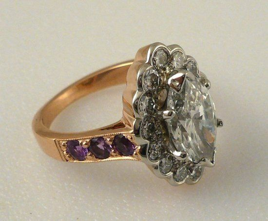 Marquise shape diamond and fancy sapphire ring