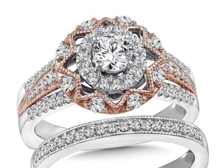 Tmx 1479762506106 Rose And White Gold Engagement Ring And Matching B Burlington, MA wedding jewelry
