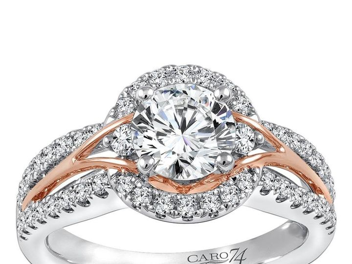 Tmx 1479762817046 Halo Engagement Ring With Sleek Rose Gold Accents Burlington, MA wedding jewelry