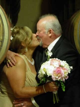 Kissing in the barrel room!