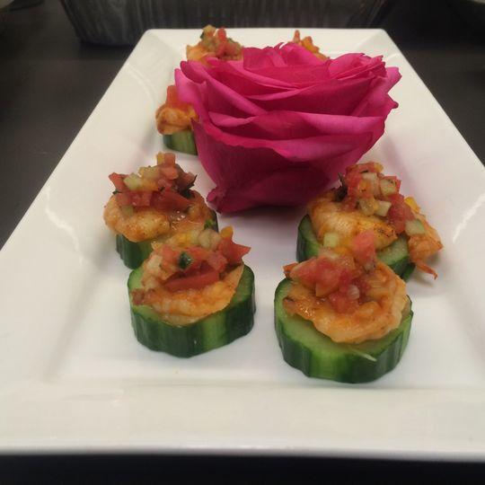 Cucumber with Cajan shrimp