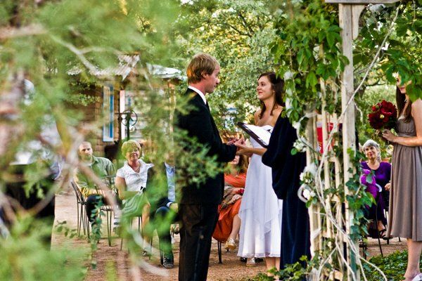 Outdoor ceremony and reception surrounded by thousand year old juniper trees near Prescott Arizona.