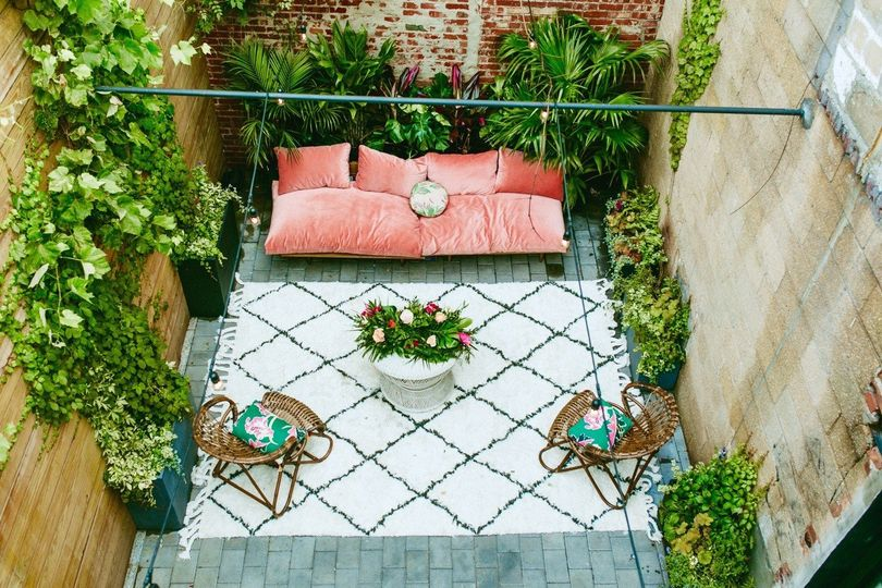Patio surrounded with plants