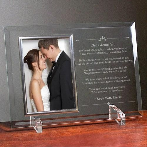 Wedding picture in a glass frame with a perfect message