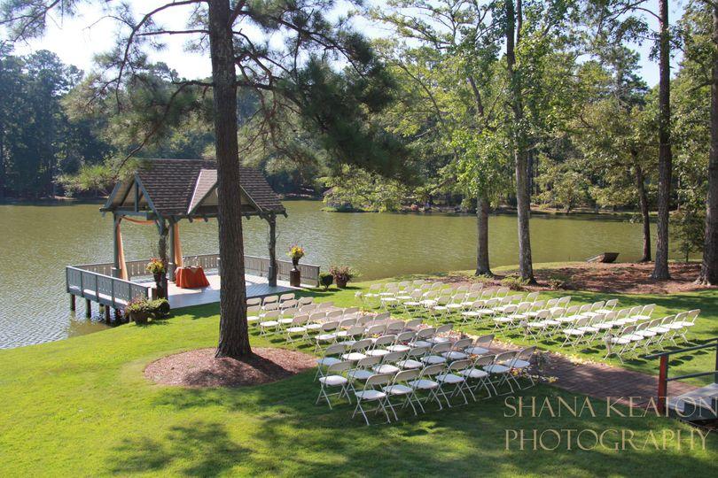 Lakefront wedding setup