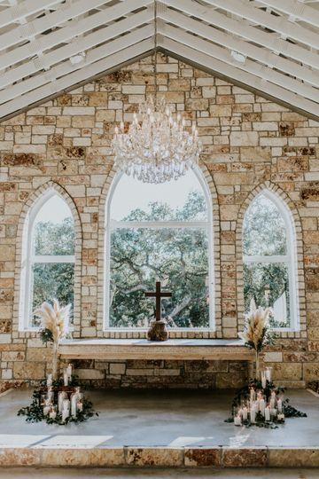 Chandelier over altar