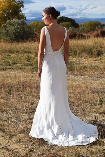 High neck low back wedding gown in crepe