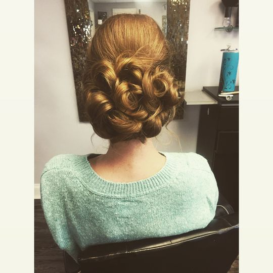 Curls and updo