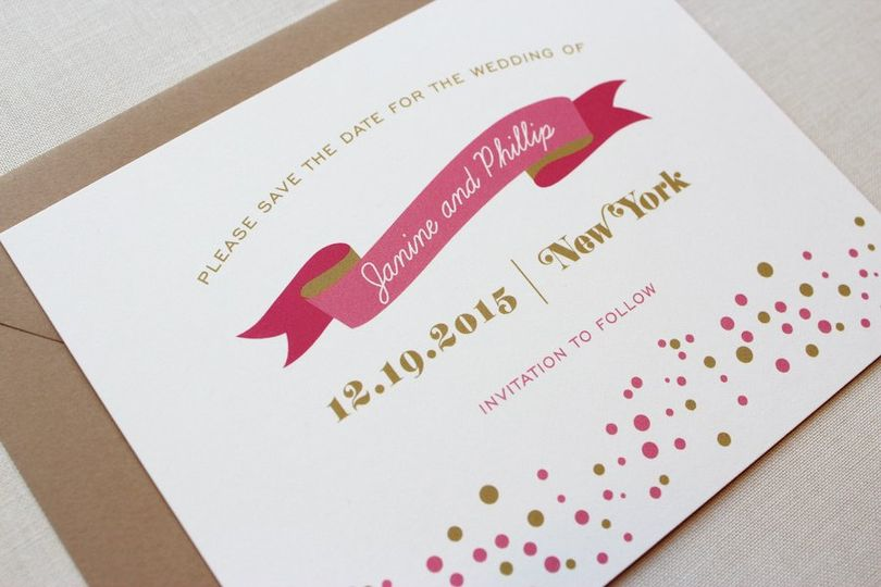 Confetti Dots save the date cards