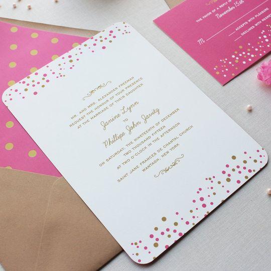 Confetti Dots wedding invitations