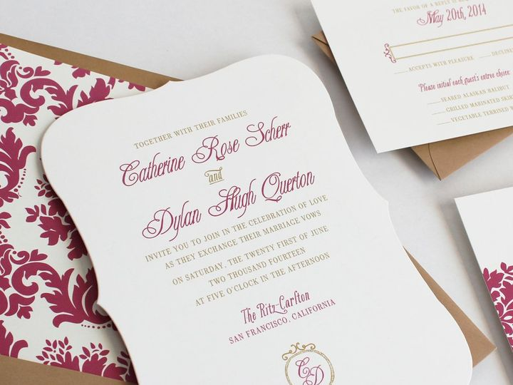 Tmx 1353952828897 PARISIANDAMASKweddinginvitation Santa Clara wedding invitation