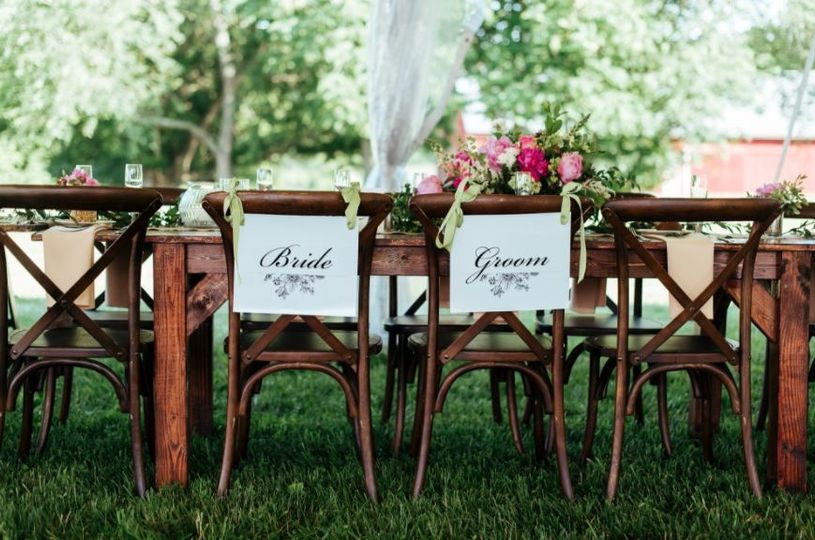 Reception table of newlyweds