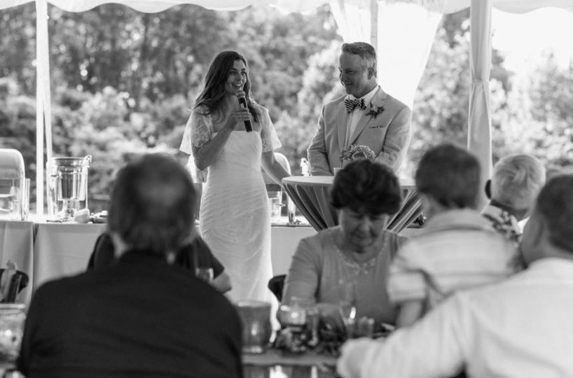 Bride gives out a speech