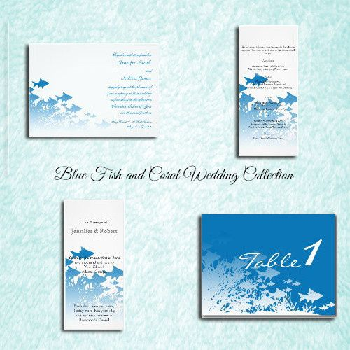 This beautiful and elegant design, called Blue Fish and Coral Wedding, has a bright white...