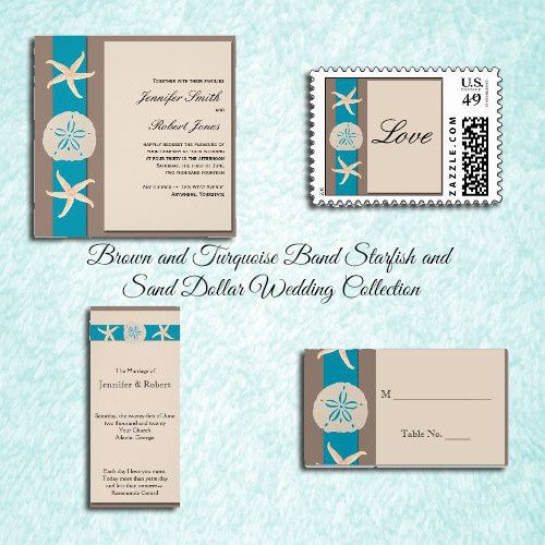 Brown and Turquoise Band Starfish and Sand Dollar Wedding, has a brown background. There is a...
