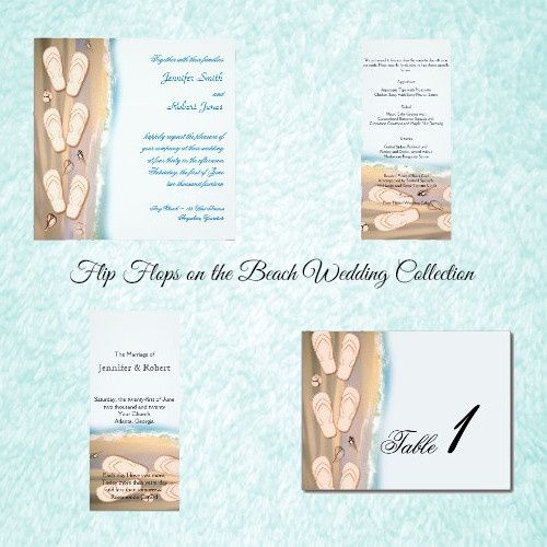 Flip Flops on the Beach Wedding, has a bright white background. On the left side is a thin border...