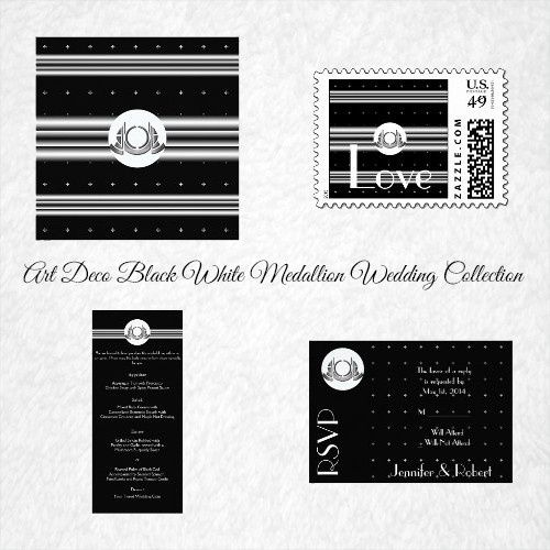 Art Deco Black White Silver Medallion Wedding, has a black background. There is a pattern of small...