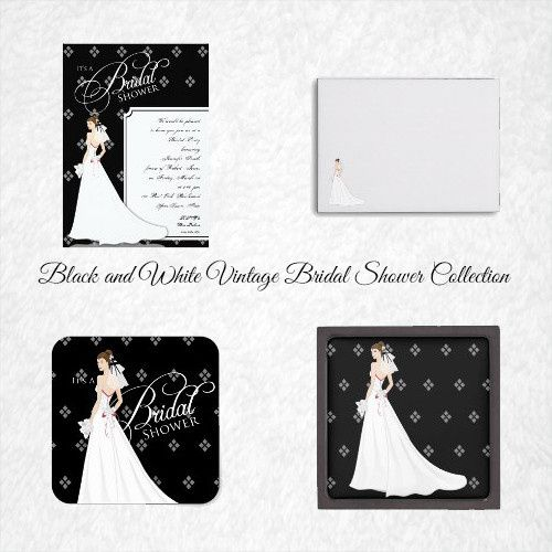 This pretty bridal shower suite has a black background with white diamond pattern. There is a pretty...