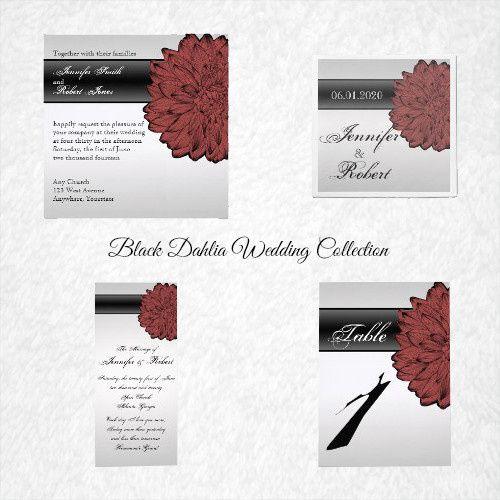 Black Dahlia Posh Wedding, has a beautiful Vintage inspired design. The background is grey. Towards...