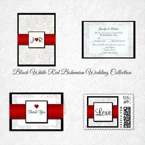 This beautiful and elegant design, called Black White Red Bohemian Posh Wedding, has a beautiful...