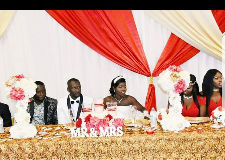 Newlyweds at the head table