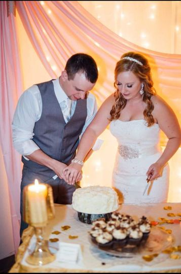 Cutting of wedding cake