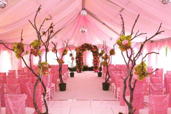 Pink tent ceremony setup