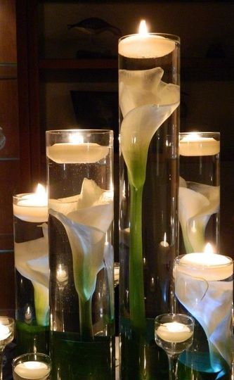 Candle light and flowers