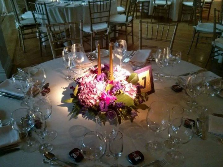 Tmx 1415293763611 Purple Lavender Centerpiece With Glowing Gold Cand Westbury, New York wedding florist