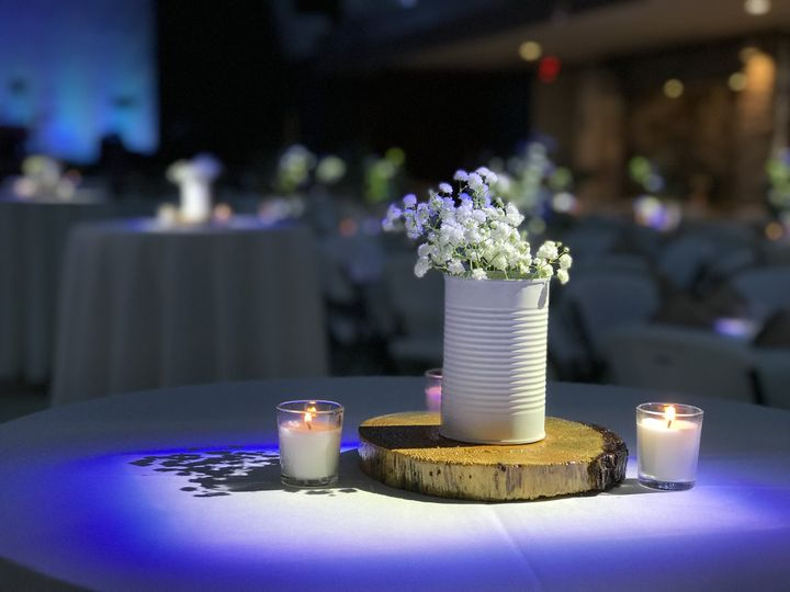 Homemade centerpieces.