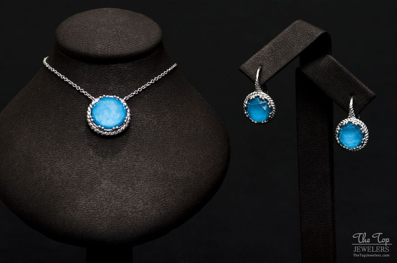 blue pendant and earring set 72