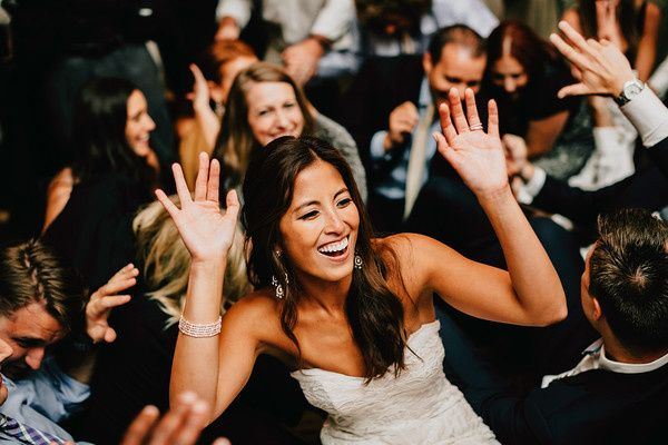 Bride hands up in the air