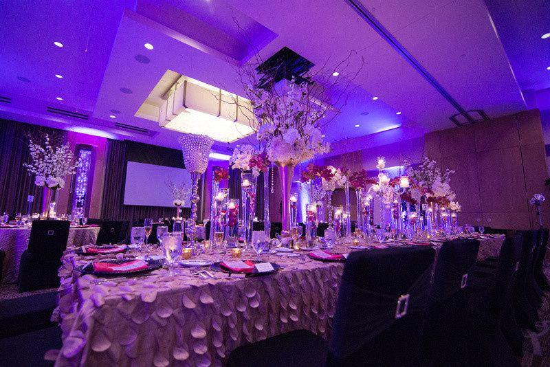 Wedding reception with uplighting
