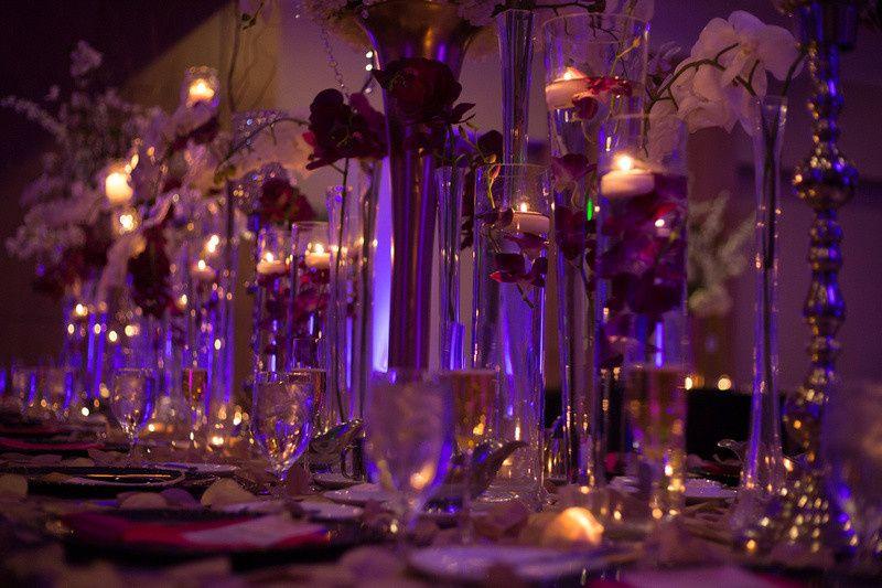Wedding reception candle lights
