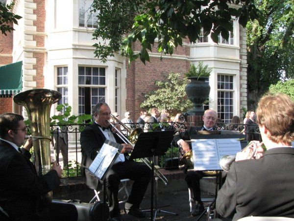 The Peak Brass Quintet playing a wedding at the Phipps Mansion, Denver Colorado