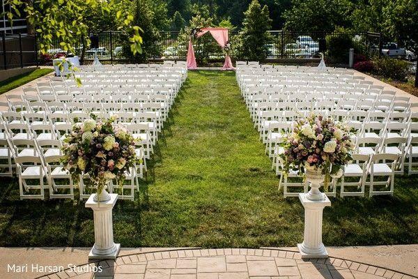Outdoor wedding space setup