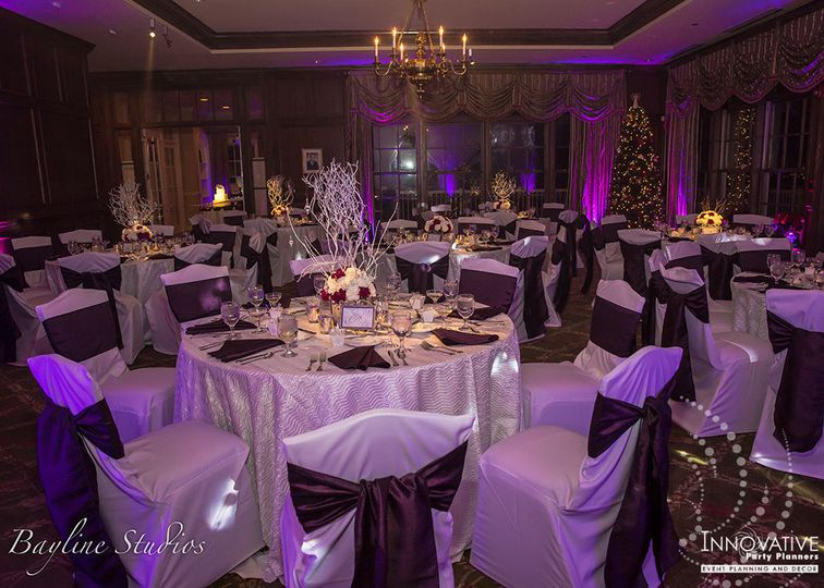 Winter wonderland wedding reception, Rolling Road Golf Club