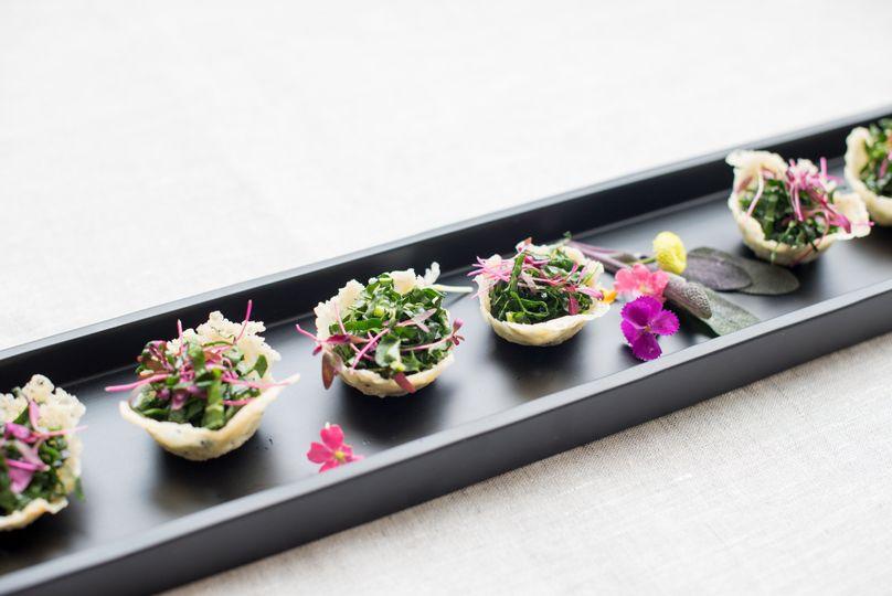 Kale salad in parmesan cups