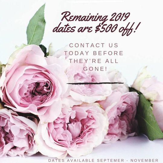 $500 off remaining 2019 dates