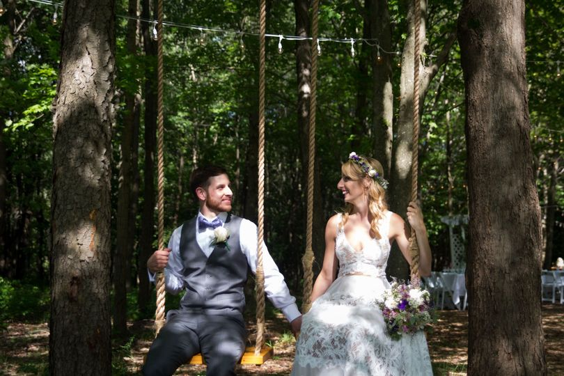 Swinging in the woods