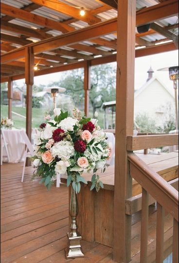 Ceremony alter pieces re-purposed at reception
